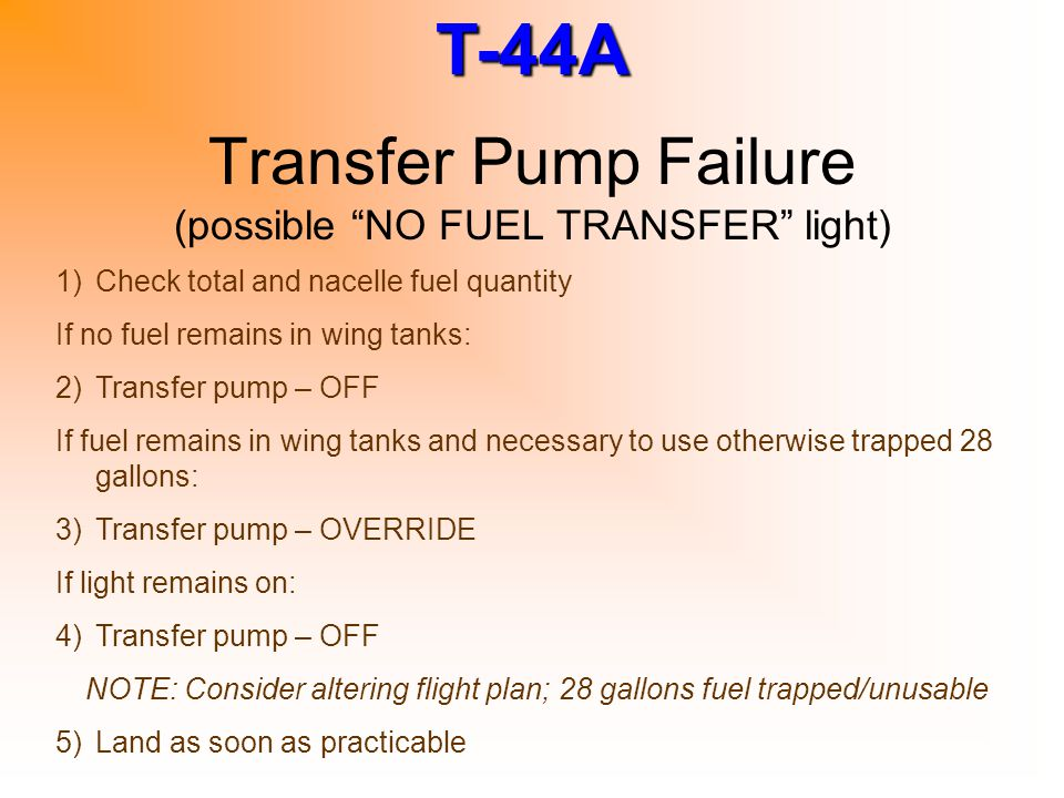 Transfer Pump Failure (possible NO FUEL TRANSFER light)