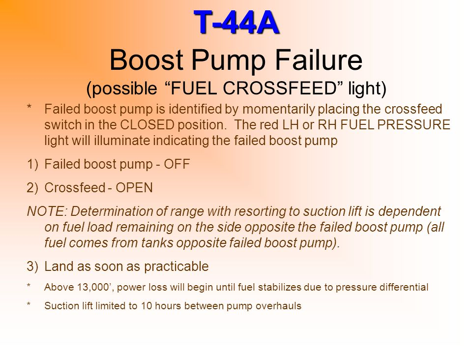 Boost Pump Failure (possible FUEL CROSSFEED light)