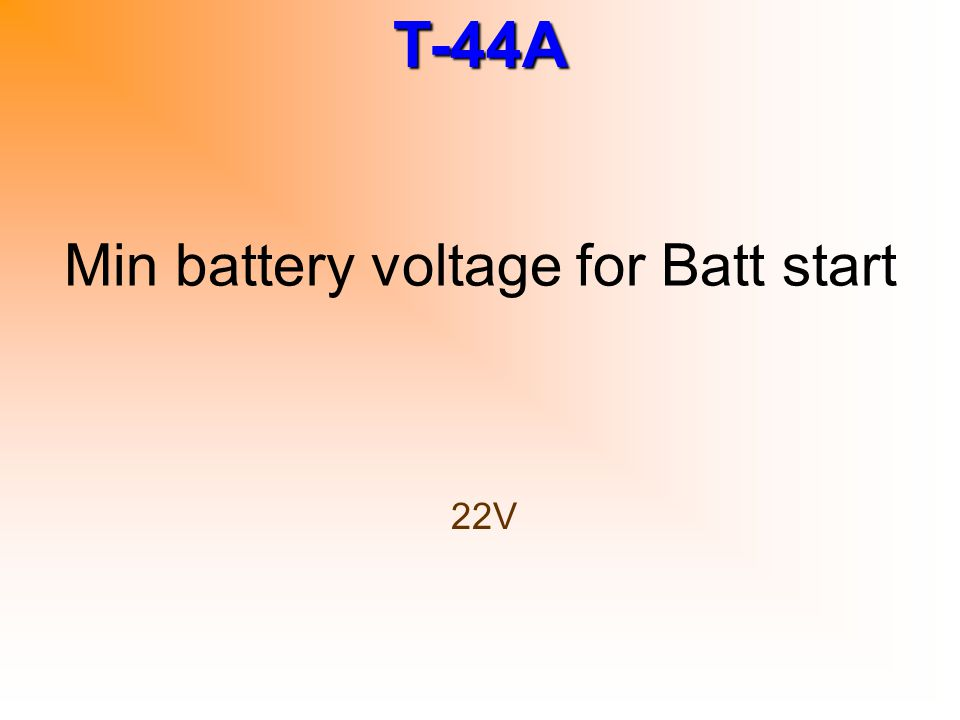 Min battery voltage for Batt start