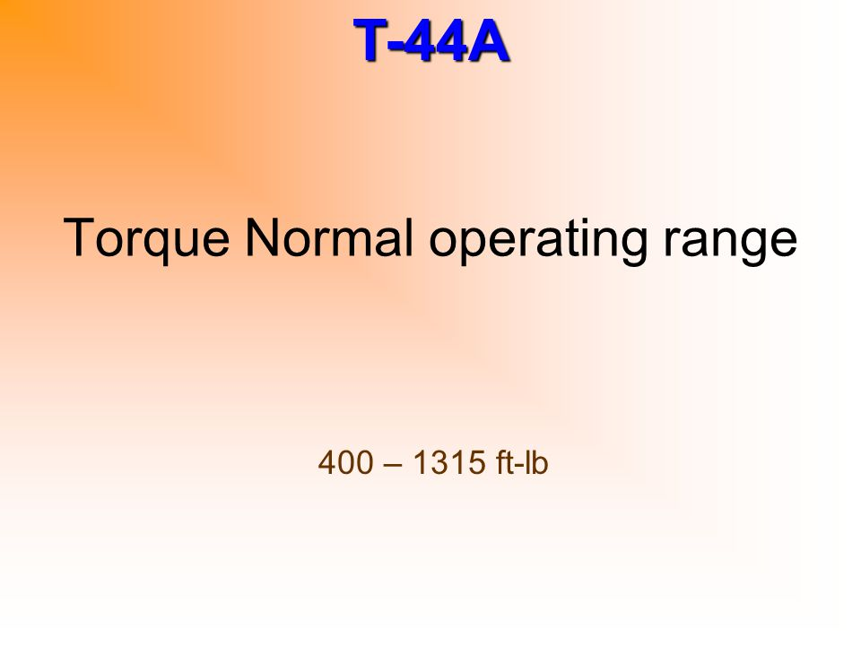 Torque Normal operating range