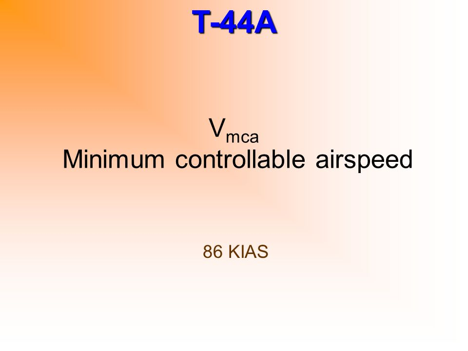 Vmca Minimum controllable airspeed