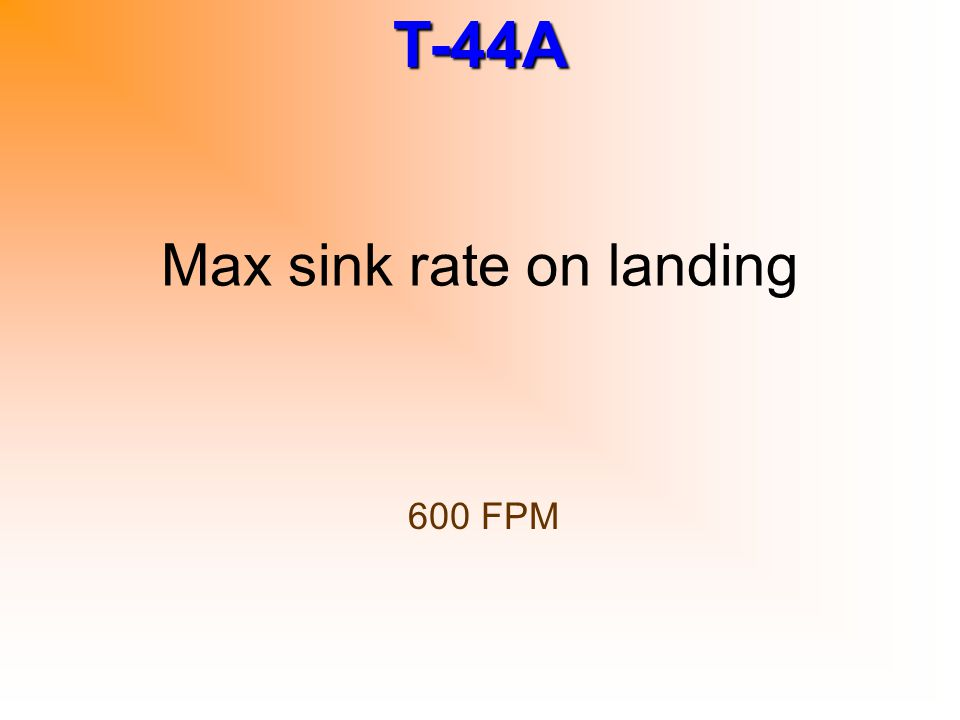 Max sink rate on landing