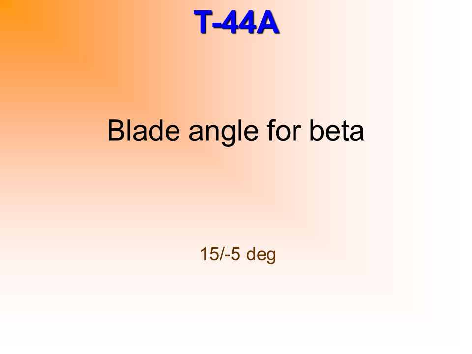 Blade angle for beta 15/-5 deg