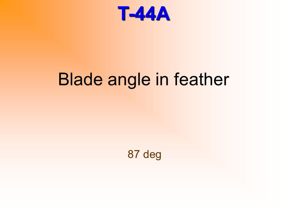 Blade angle in feather 87 deg