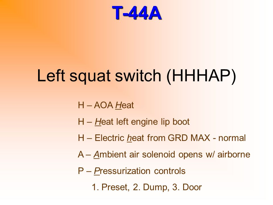 Left squat switch (HHHAP)