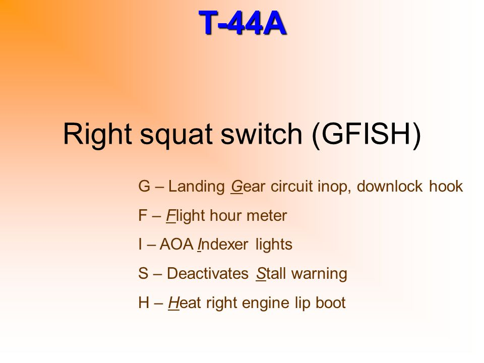 Right squat switch (GFISH)