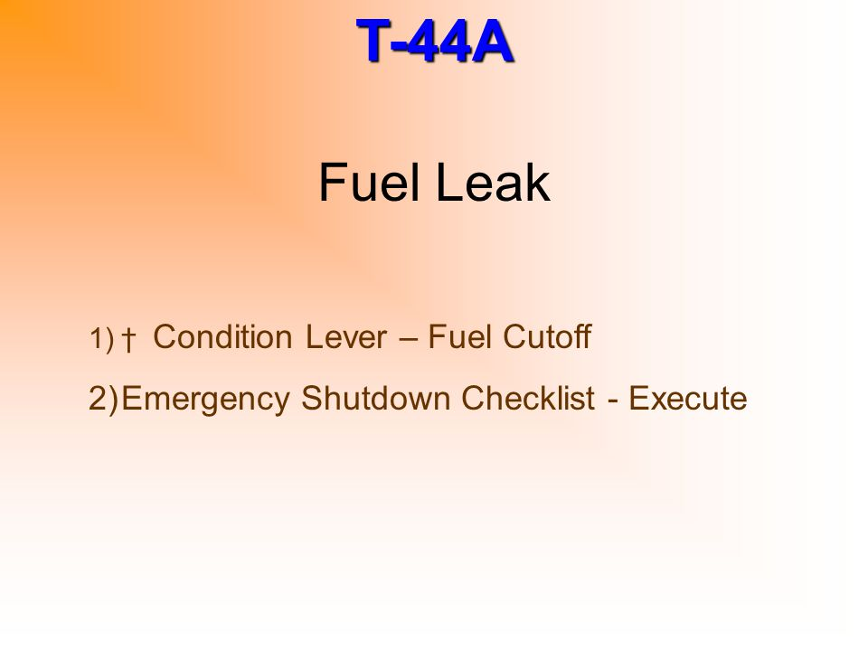 Fuel Leak Emergency Shutdown Checklist - Execute