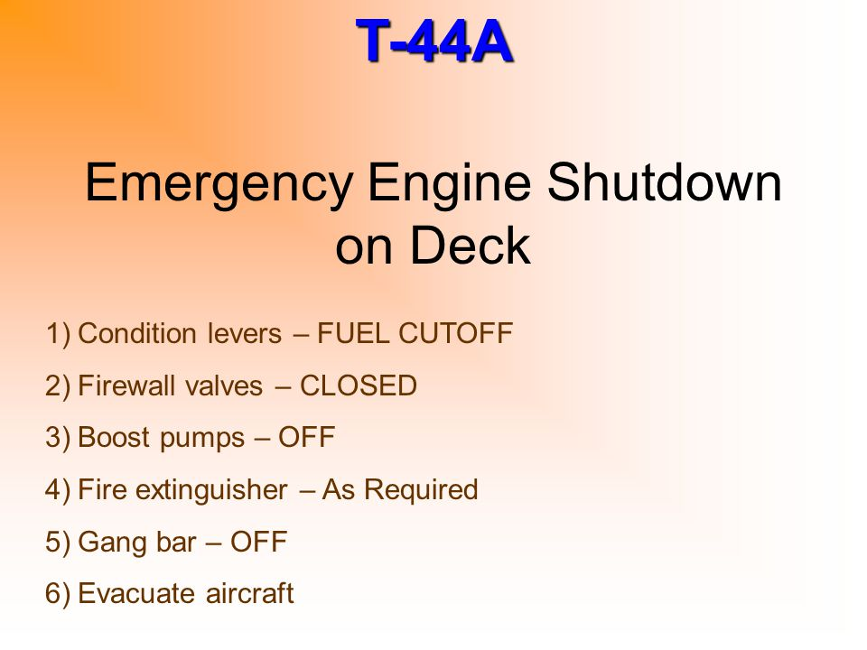 Emergency Engine Shutdown on Deck