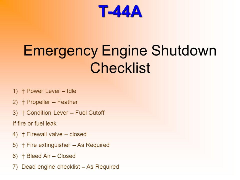 Emergency Engine Shutdown Checklist
