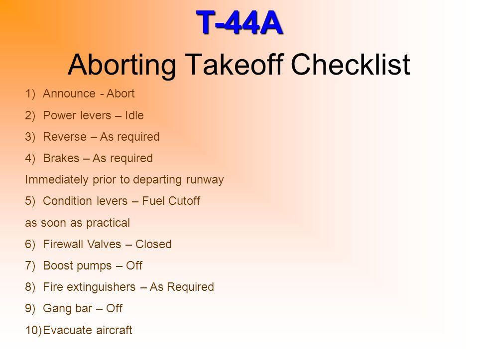 Aborting Takeoff Checklist