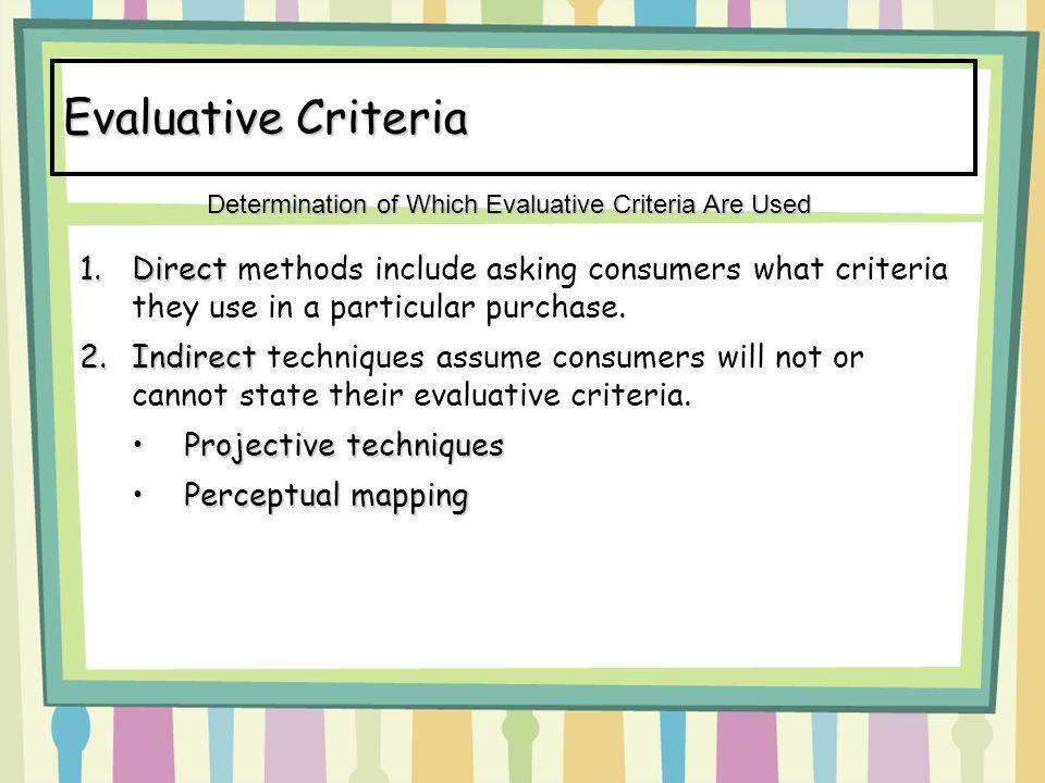 Evaluative Criteria Determination of Which Evaluative Criteria Are Used.