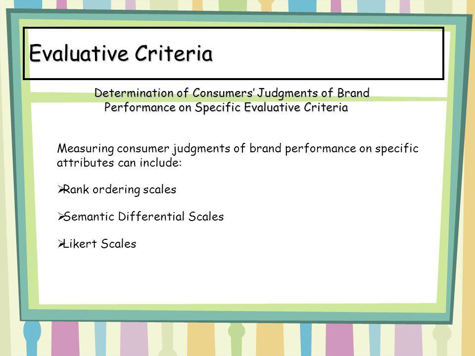 Evaluative Criteria Determination of Consumers' Judgments of Brand