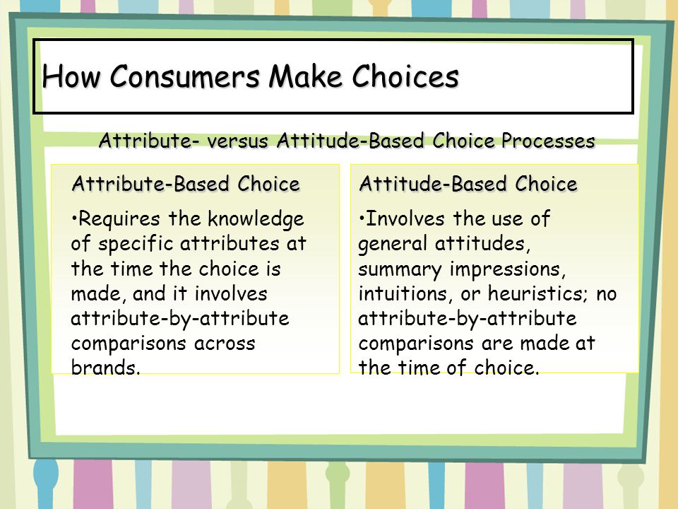 How Consumers Make Choices
