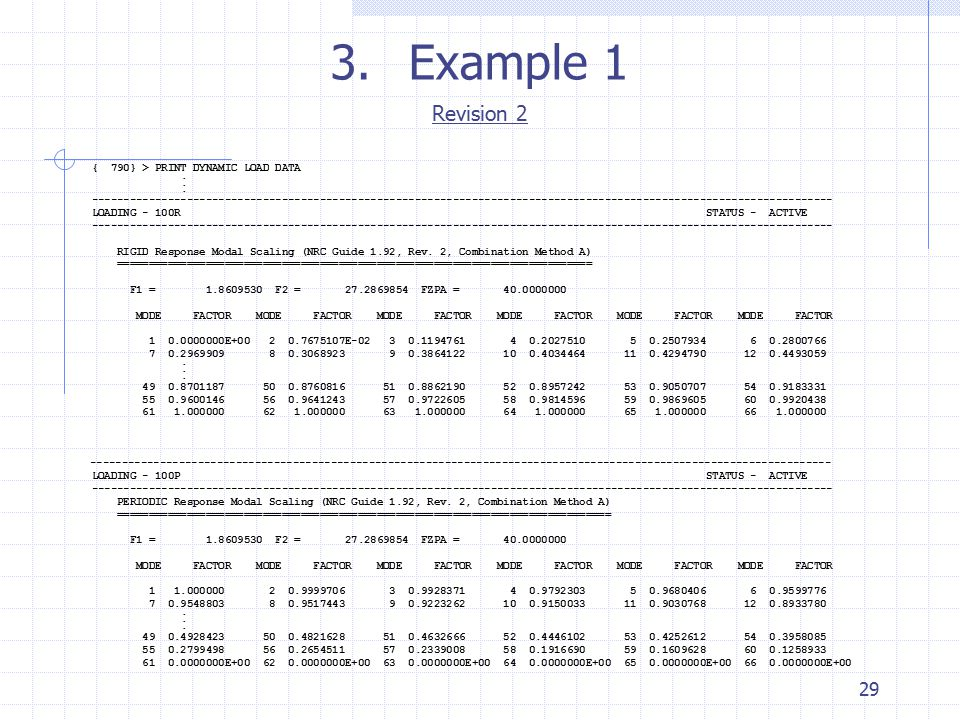 Example 1 Revision 2 29 { 790} > PRINT DYNAMIC LOAD DATA .
