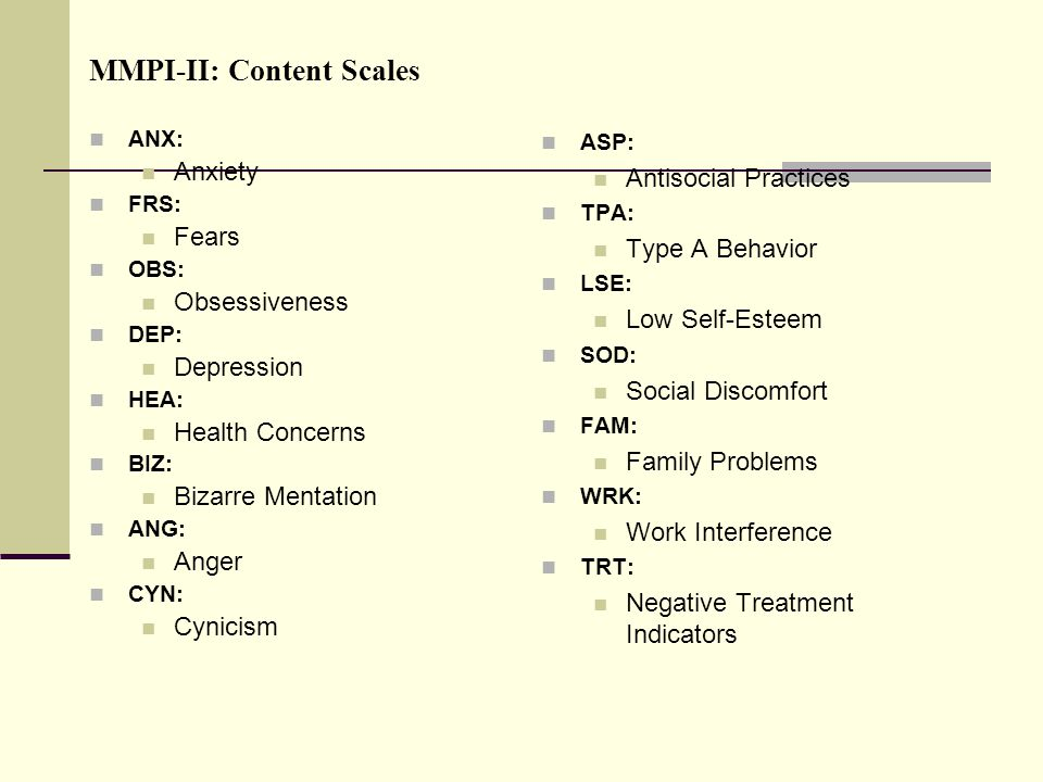 MMPI-II: Content Scales