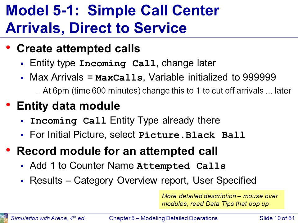 Model 5-1: Simple Call Center Arrivals, Direct to Service