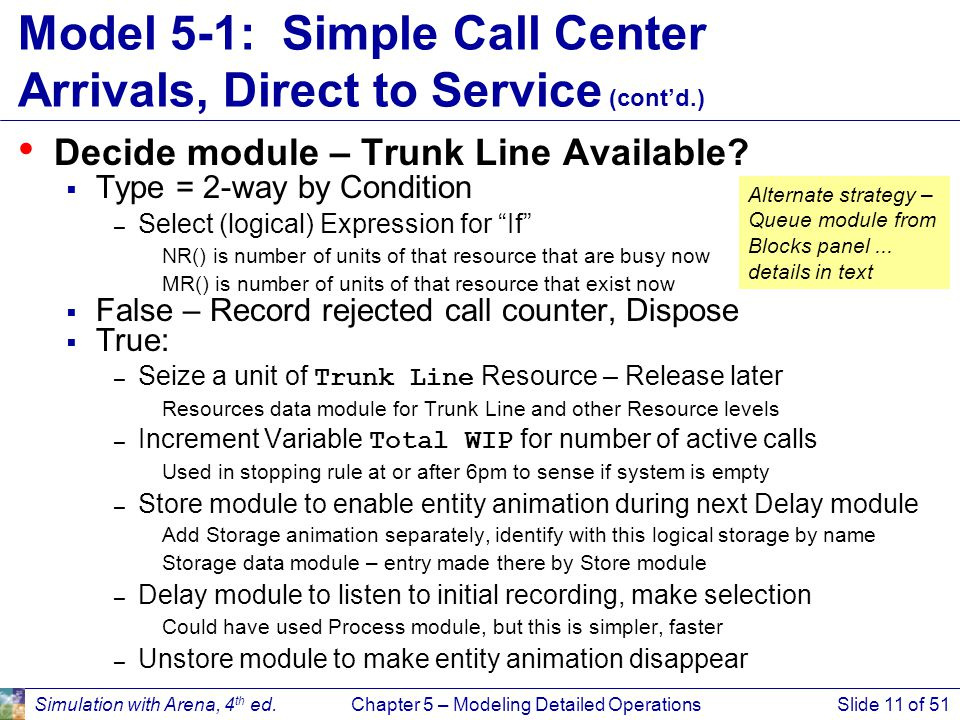 Model 5-1: Simple Call Center Arrivals, Direct to Service (cont'd.)