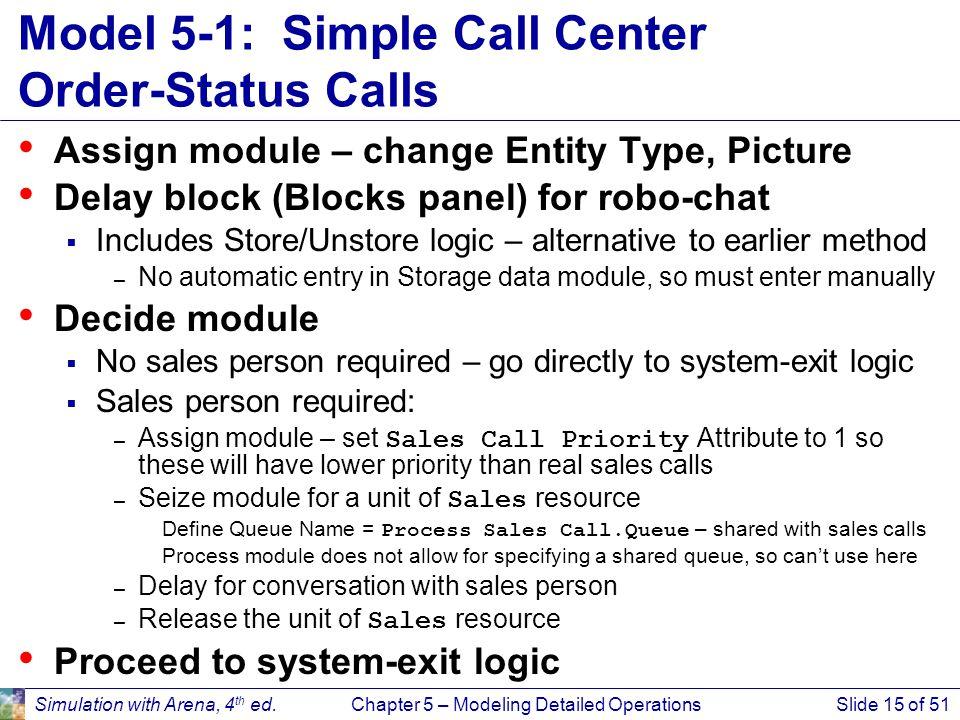 Model 5-1: Simple Call Center Order-Status Calls