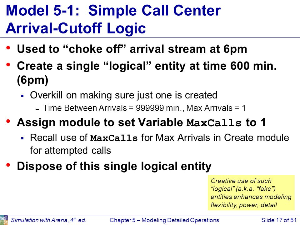 Model 5-1: Simple Call Center Arrival-Cutoff Logic