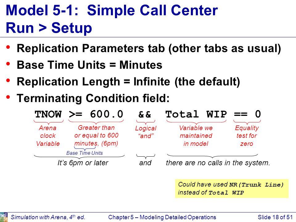 Model 5-1: Simple Call Center Run > Setup