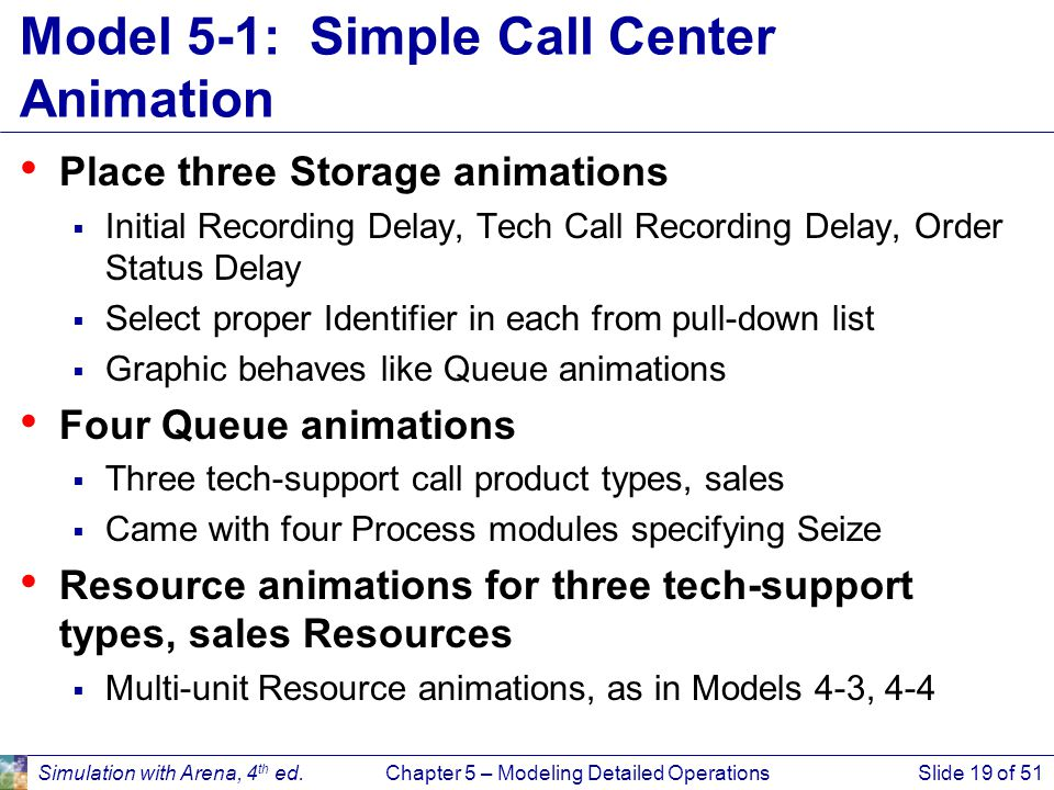 Model 5-1: Simple Call Center Animation