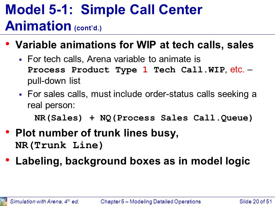 Model 5-1: Simple Call Center Animation (cont'd.)