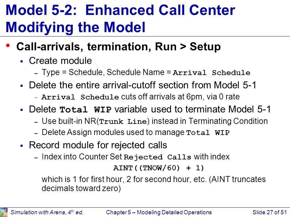 Model 5-2: Enhanced Call Center Modifying the Model