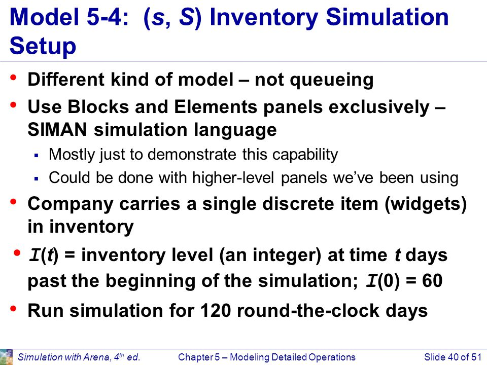 Model 5-4: (s, S) Inventory Simulation Setup