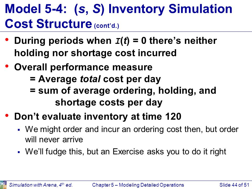 Model 5-4: (s, S) Inventory Simulation Cost Structure (cont'd.)