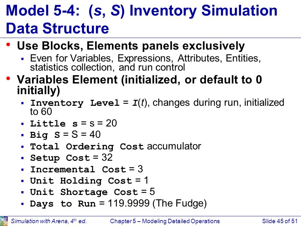 Model 5-4: (s, S) Inventory Simulation Data Structure
