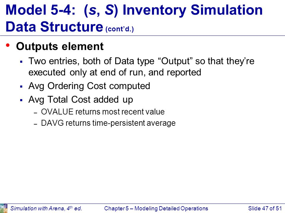 Model 5-4: (s, S) Inventory Simulation Data Structure (cont'd.)