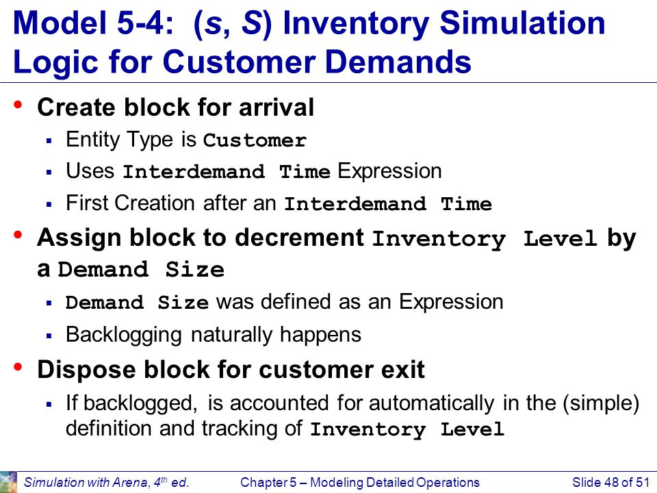 Model 5-4: (s, S) Inventory Simulation Logic for Customer Demands