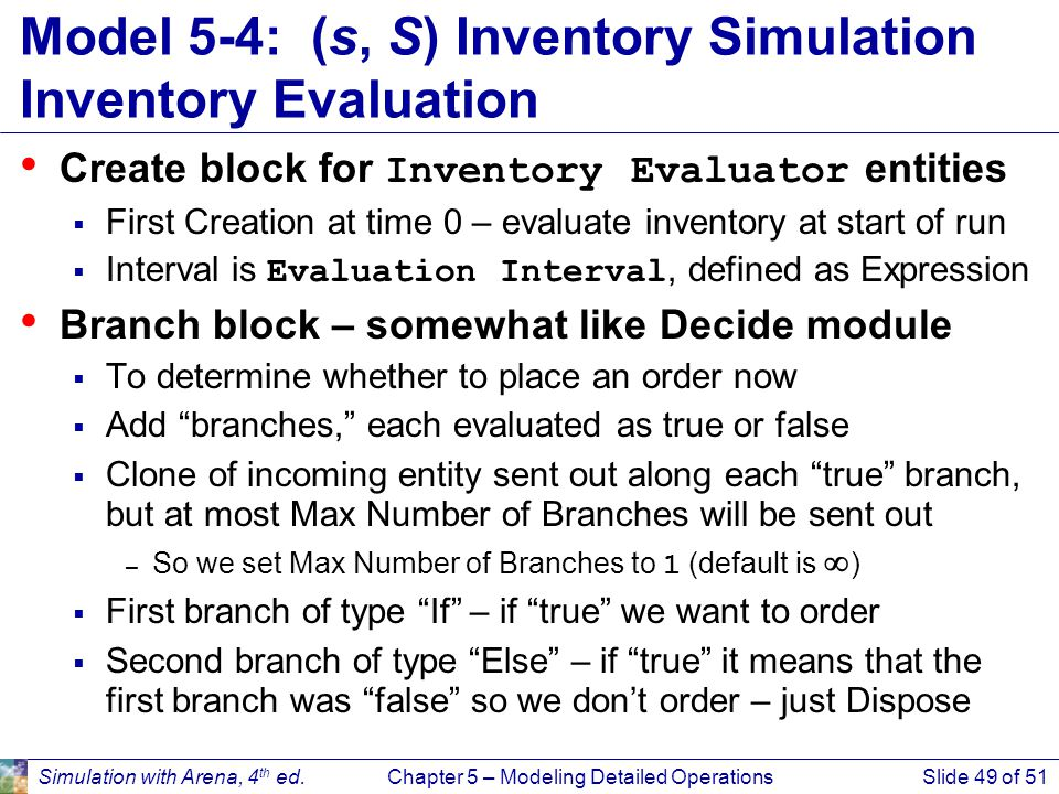 Model 5-4: (s, S) Inventory Simulation Inventory Evaluation