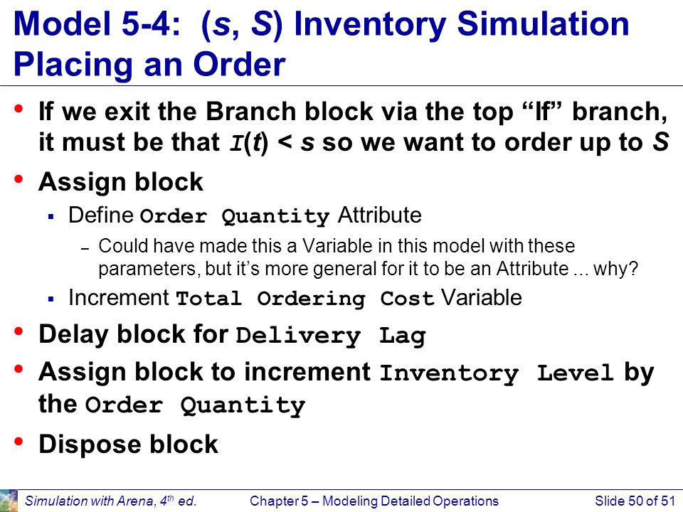 Model 5-4: (s, S) Inventory Simulation Placing an Order