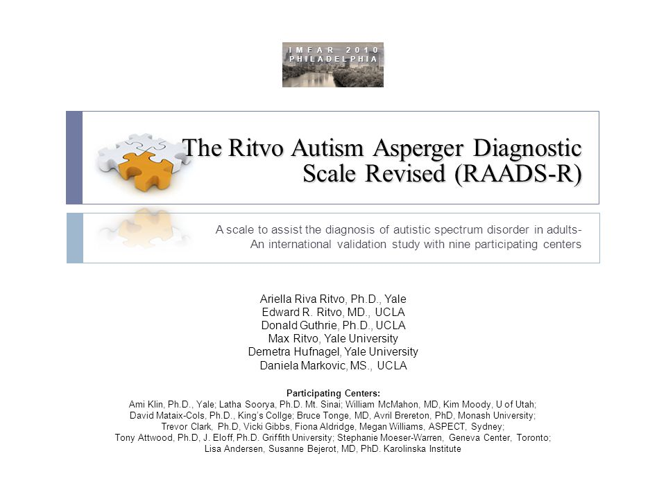 The Ritvo Autism Asperger Diagnostic Scale Revised (RAADS-R)