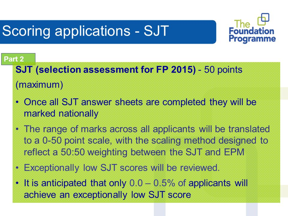 Scoring applications - SJT