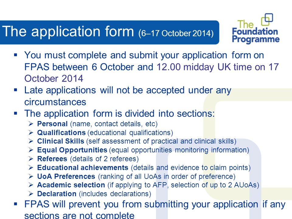 The application form (6–17 October 2014)