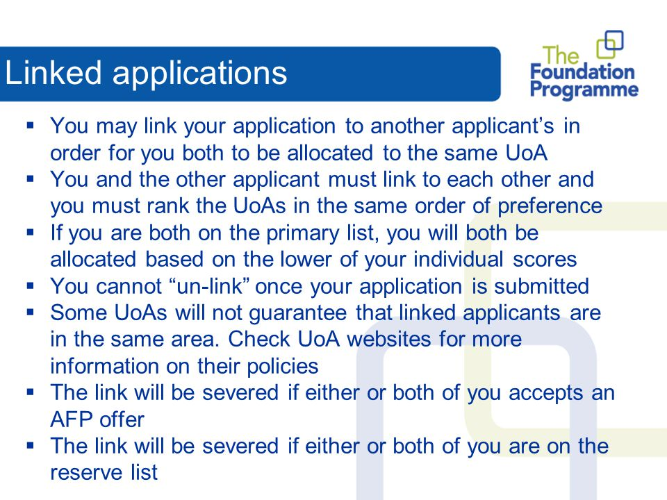 Linked applications You may link your application to another applicant's in order for you both to be allocated to the same UoA.