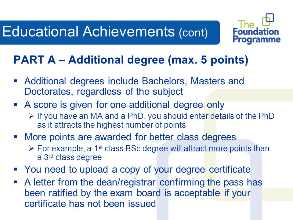 Educational Achievements (cont)