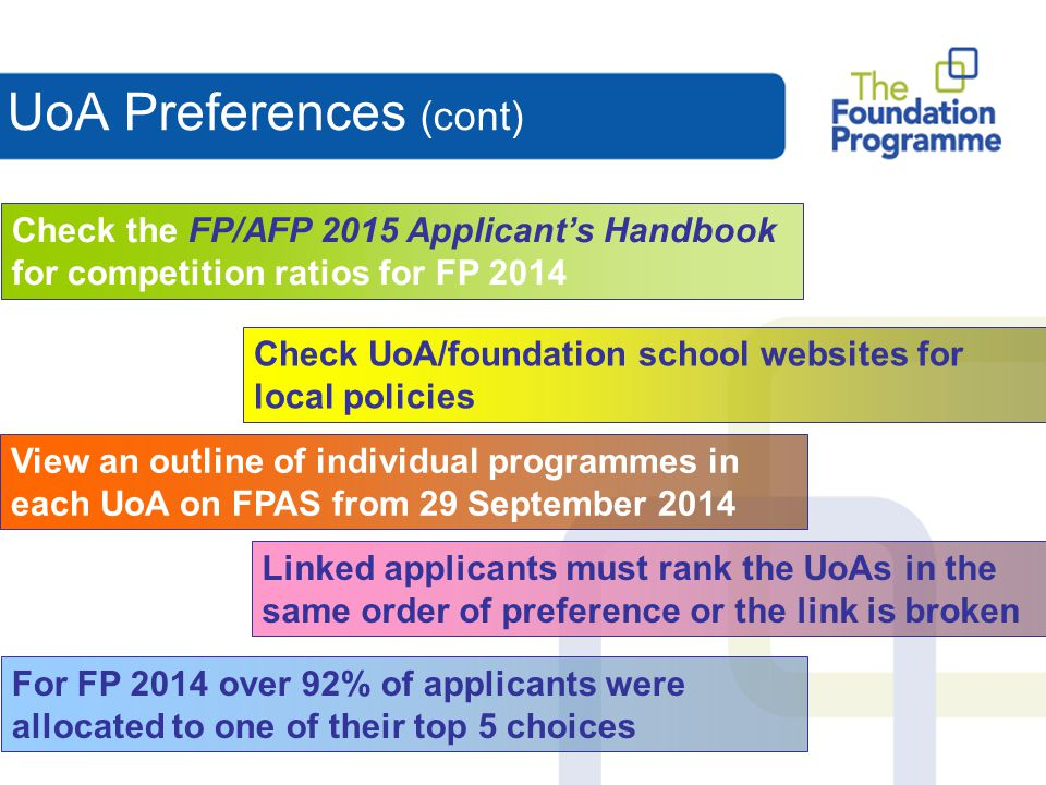 UoA Preferences (cont)