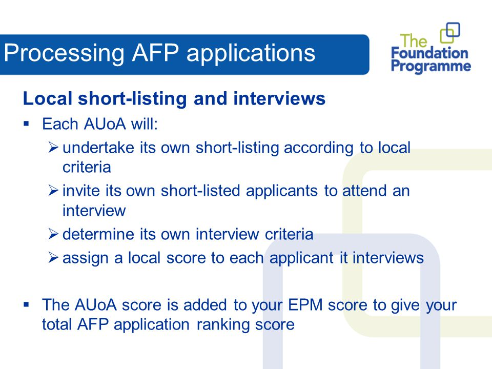 Processing AFP applications