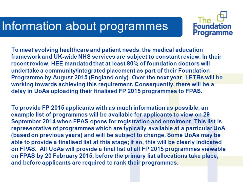 Information about programmes