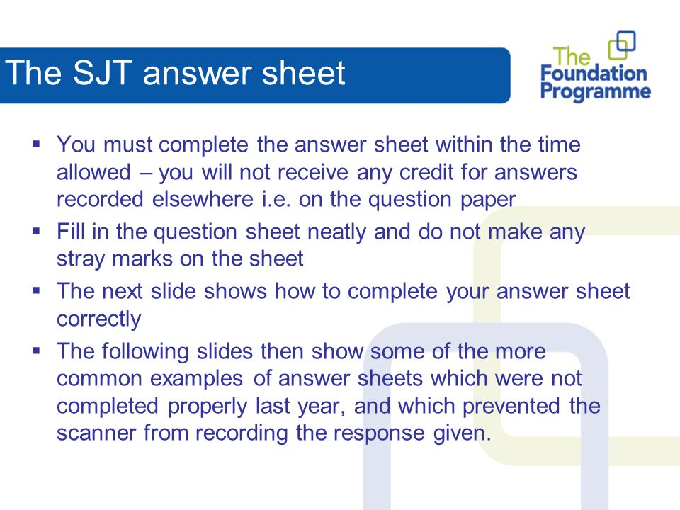 The SJT answer sheet