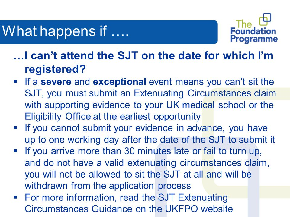 What happens if …. …I can't attend the SJT on the date for which I'm registered