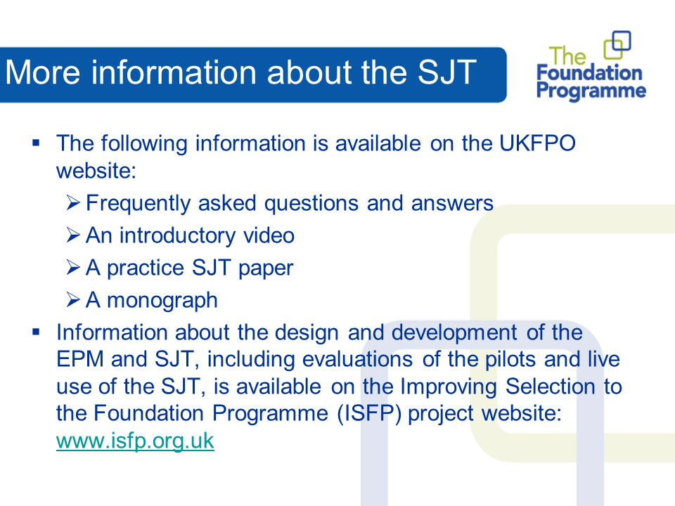 More information about the SJT