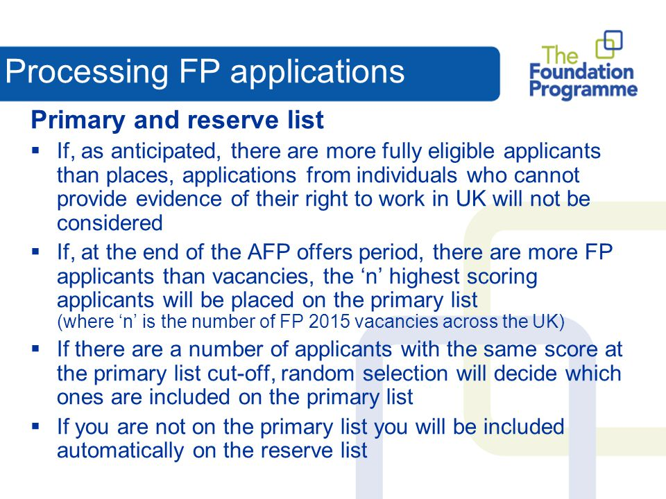 Processing FP applications