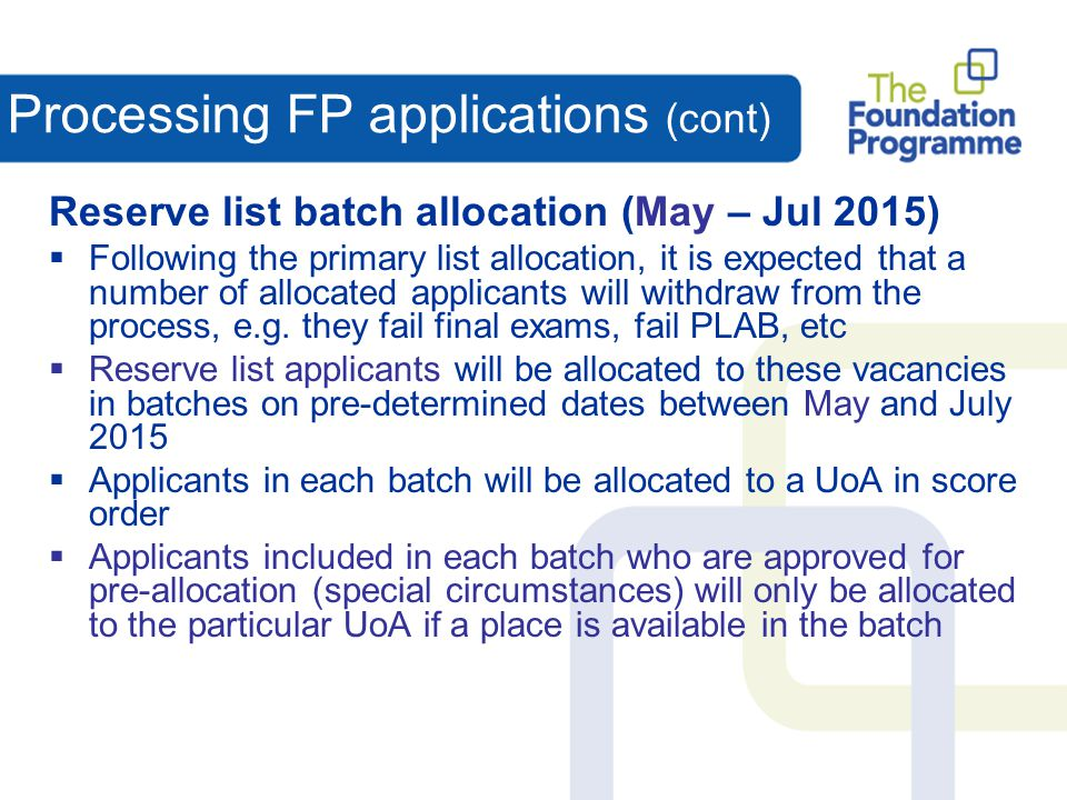Processing FP applications (cont)