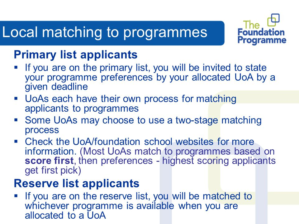 Local matching to programmes