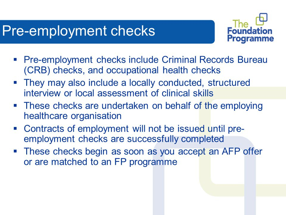 Pre-employment checks