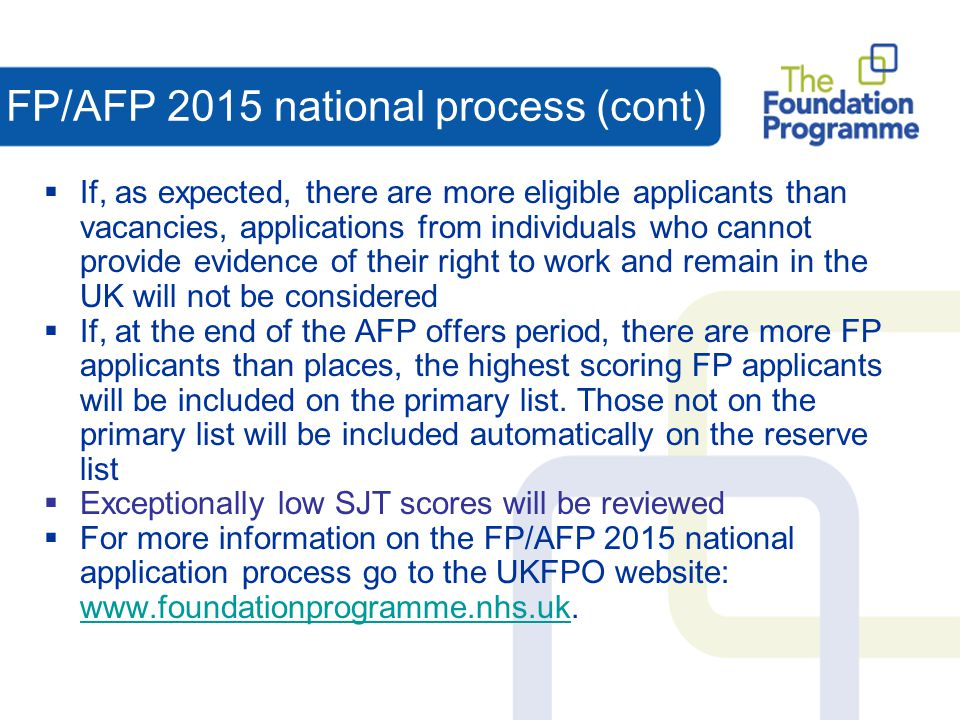 FP/AFP 2015 national process (cont)